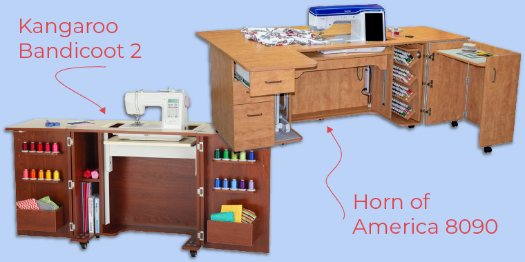 Sewing tables from Horn of America and Kangaroo.