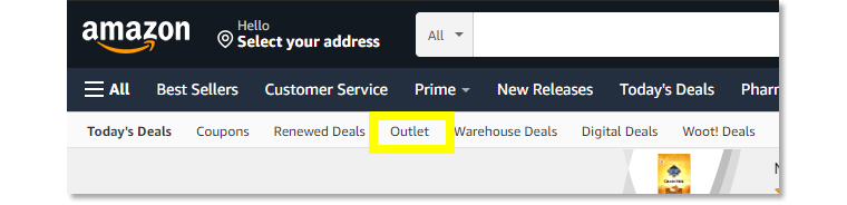 The Amazon Outlet features overstock items.