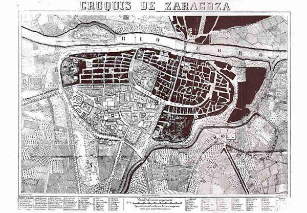 Plano de Zaragoza 1860