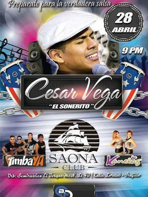 Salsero César Vega se presenta en Saona