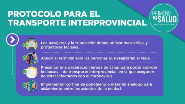 viaje interprovincial en Perú protocolo sanitario COVID-19