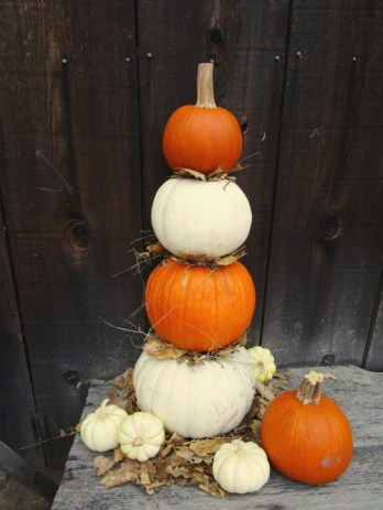 Just for fun, stack a few pumpkins