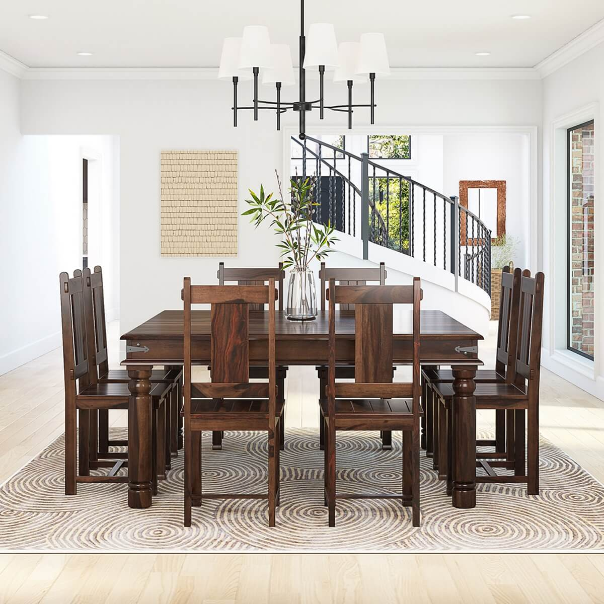 Table And Chairs Set Richmond Rustic Solid Wood Large Square Dining Room Table