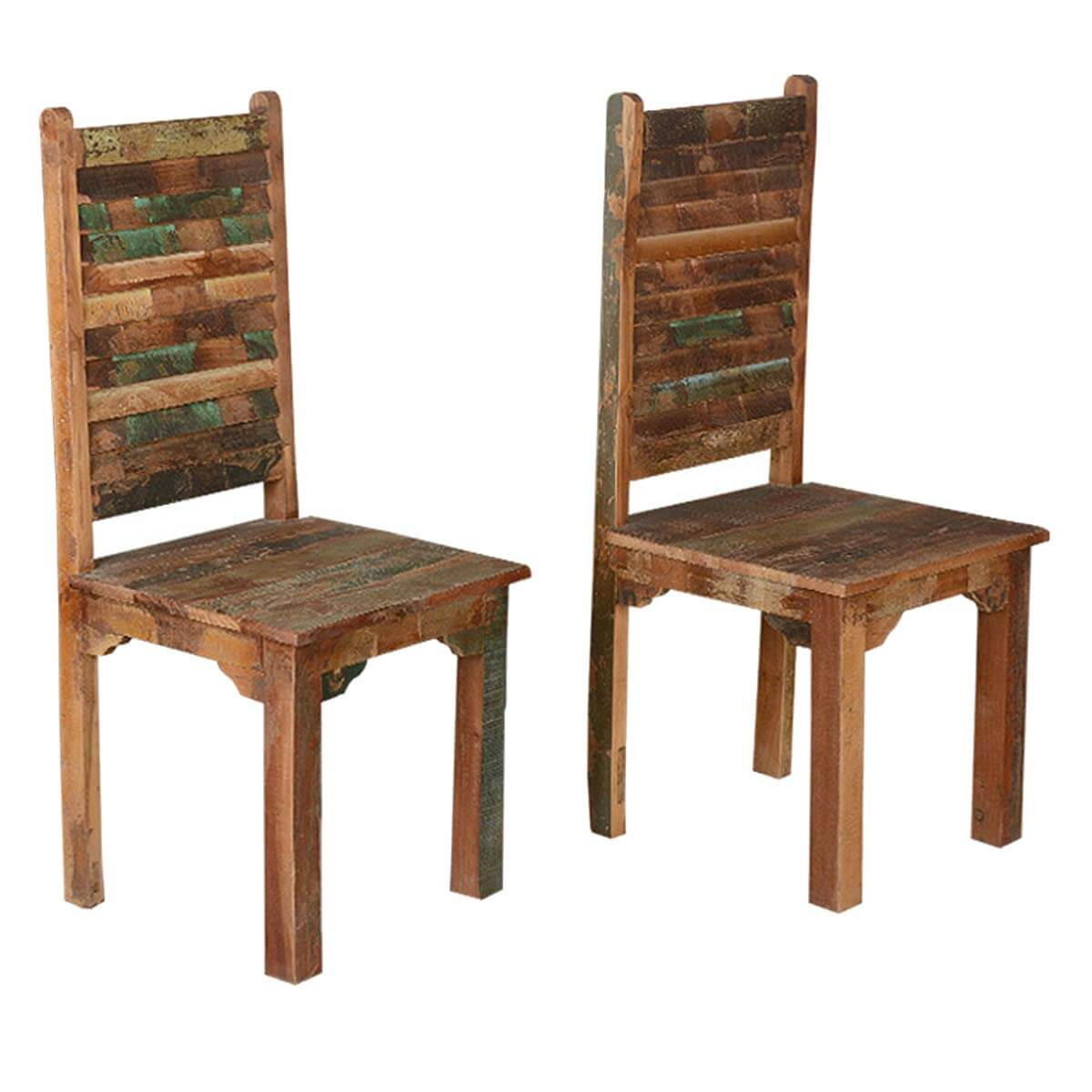 Rustic Wood Chairs Rustic Distressed Reclaimed Wood Multi Color Dining Chairs