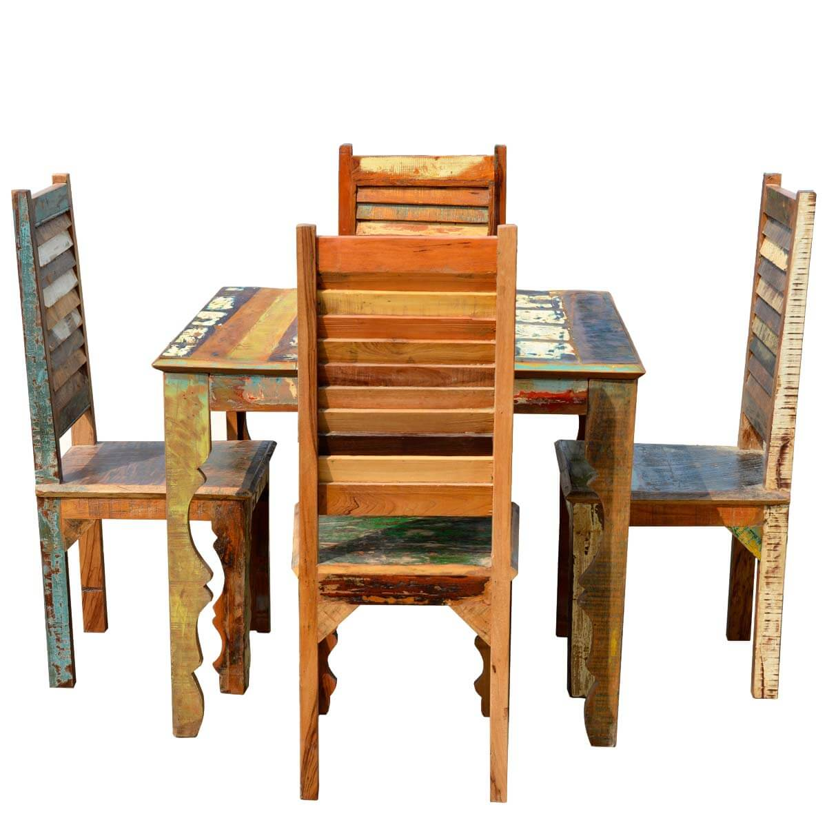 Rustic Wood Chairs Rustic Reclaimed Wood Dining Table W Shutter Back Chairs
