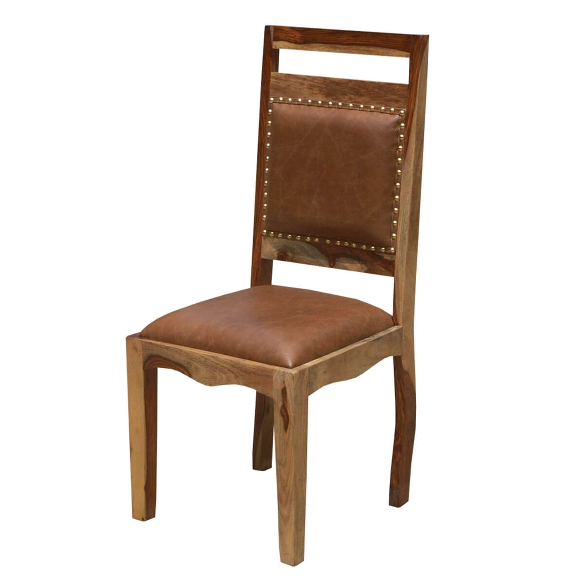 Wood Dining Chair Transitional Rustic Solid Wood And Leather Dining Chair