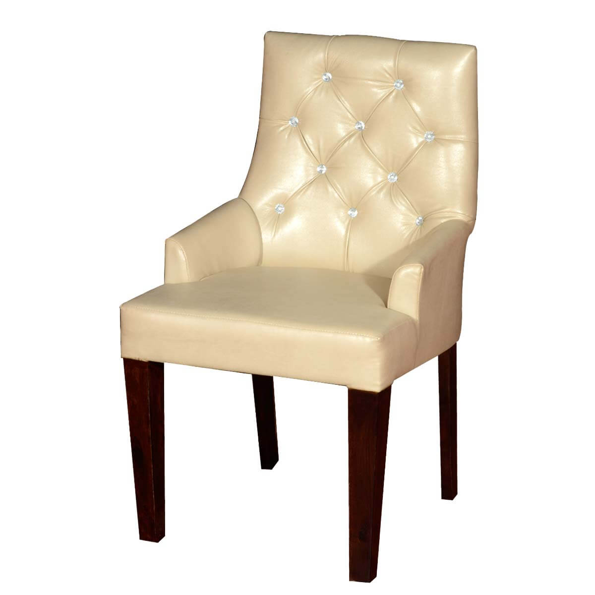 White Upholstered Chair Contemporary White Leather Upholstered Solid Wood Chair