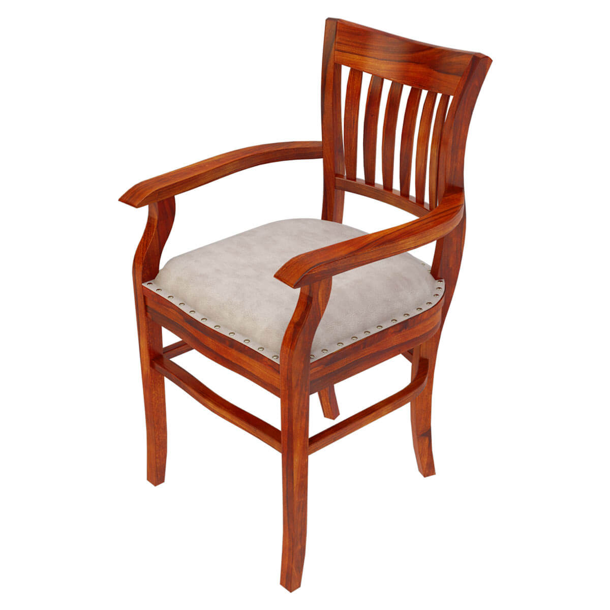 Wood Dining Chair Solid Wood Arm Chair Leather Cushion Dining Furniture