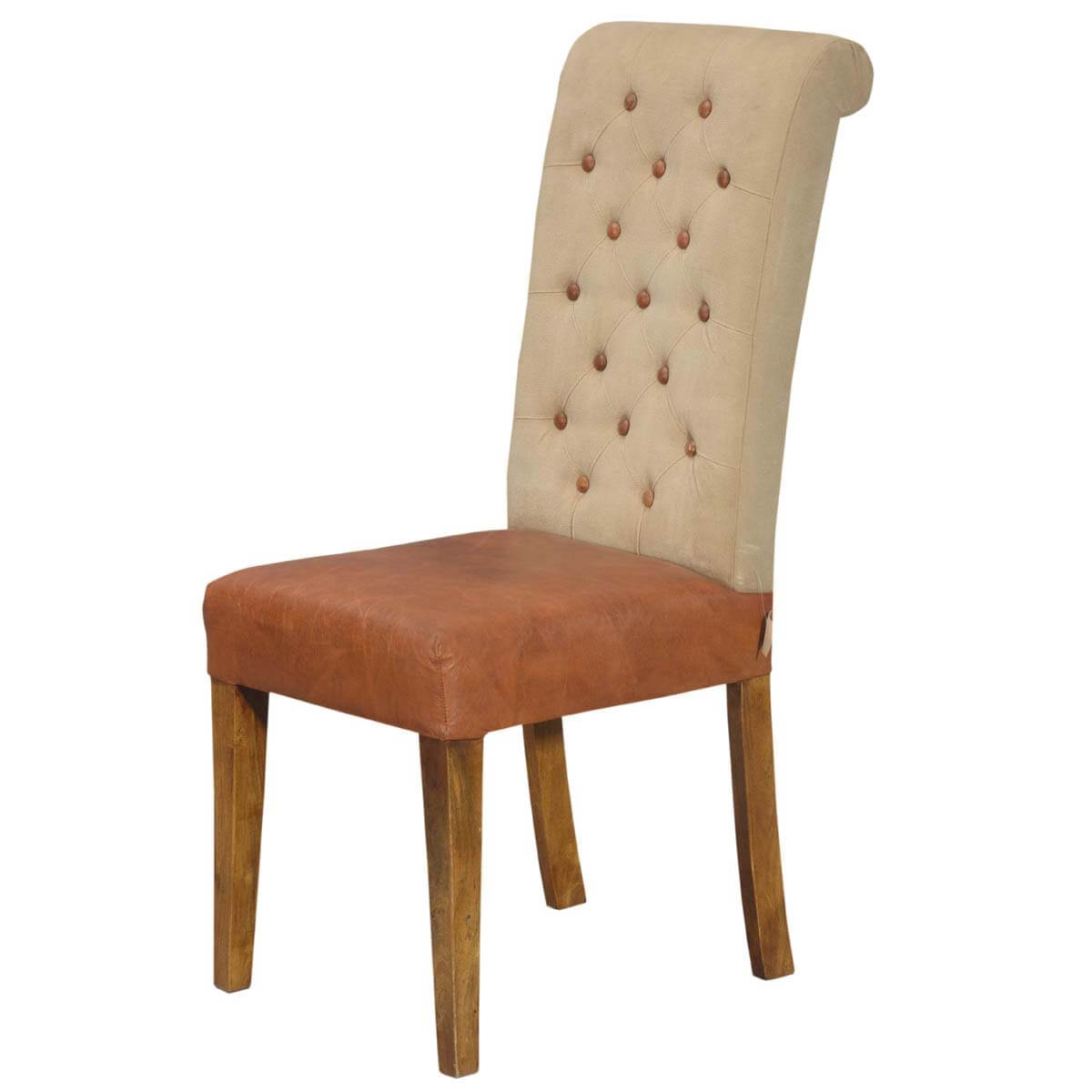 Parson Chair Ultra Stylish Leather And Fabric Tufted Parson Chair