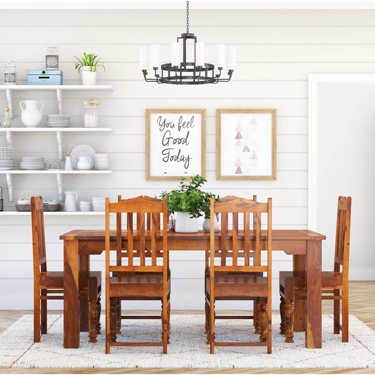 Rustic Wood Chairs Rustic Solid Wood Dallas Dining Table With Chairs Set