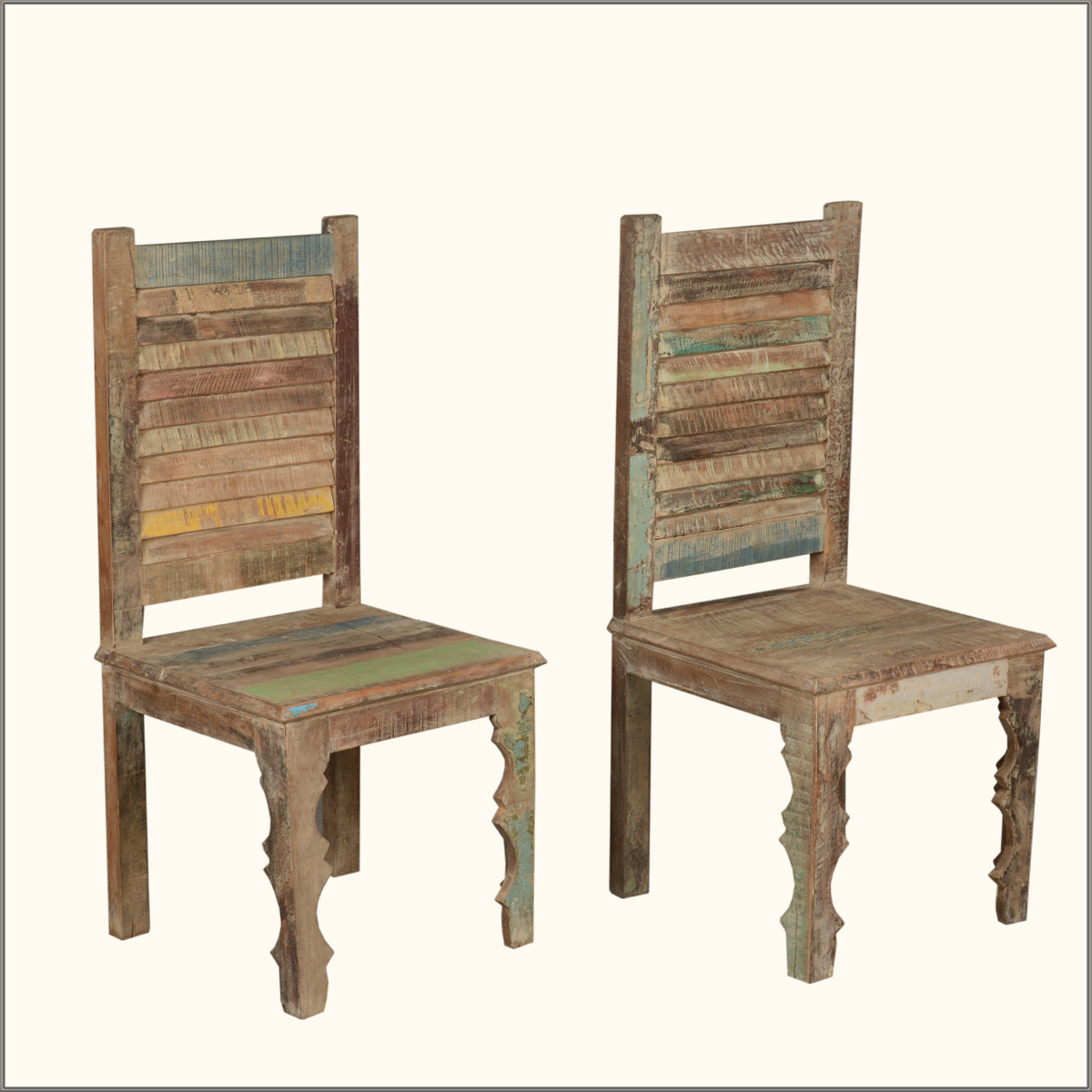 Colorful Wooden Chairs Rustic Distressed Reclaimed Wood Multi Color Kitchen