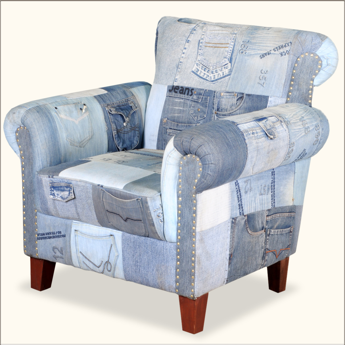 Denim Chair Whimsical Blue Jean W Pockets Overstuffed Easy Chair Ebay