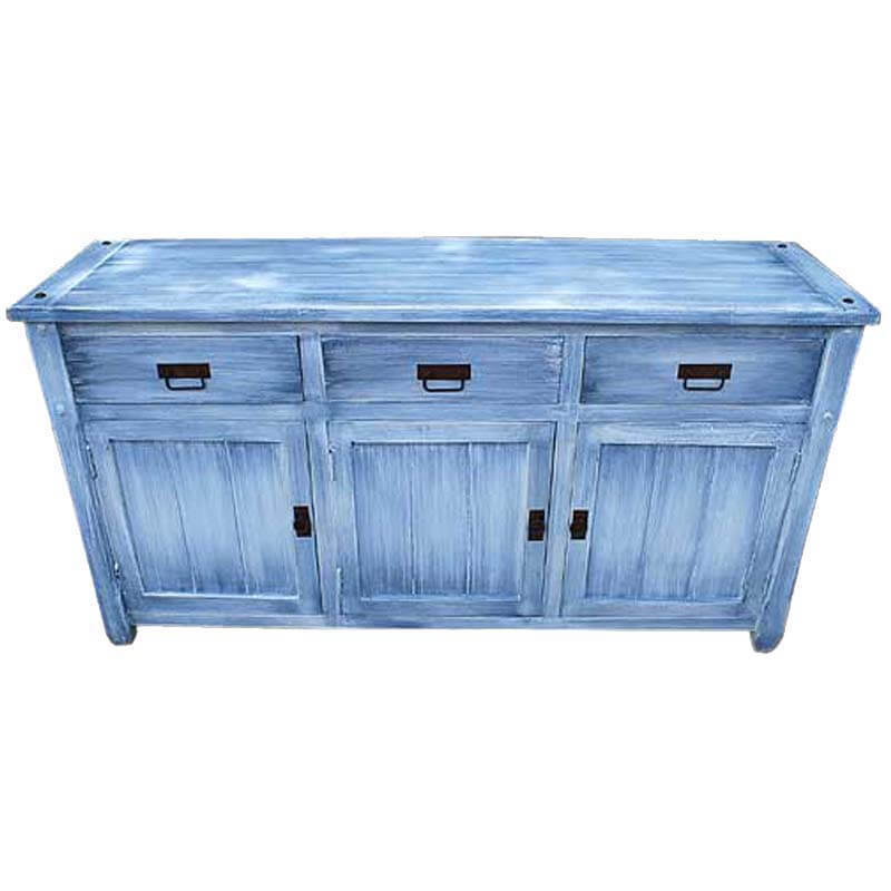 Appalachian Distressed Sky Blue Solid Wood 3 Drawer Large