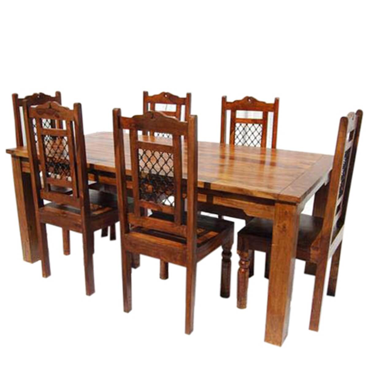 Farmhouse Dining Table And Chairs Swiss Alps Solid Wood 7pc Farmhouse Dining Table And Chair Set