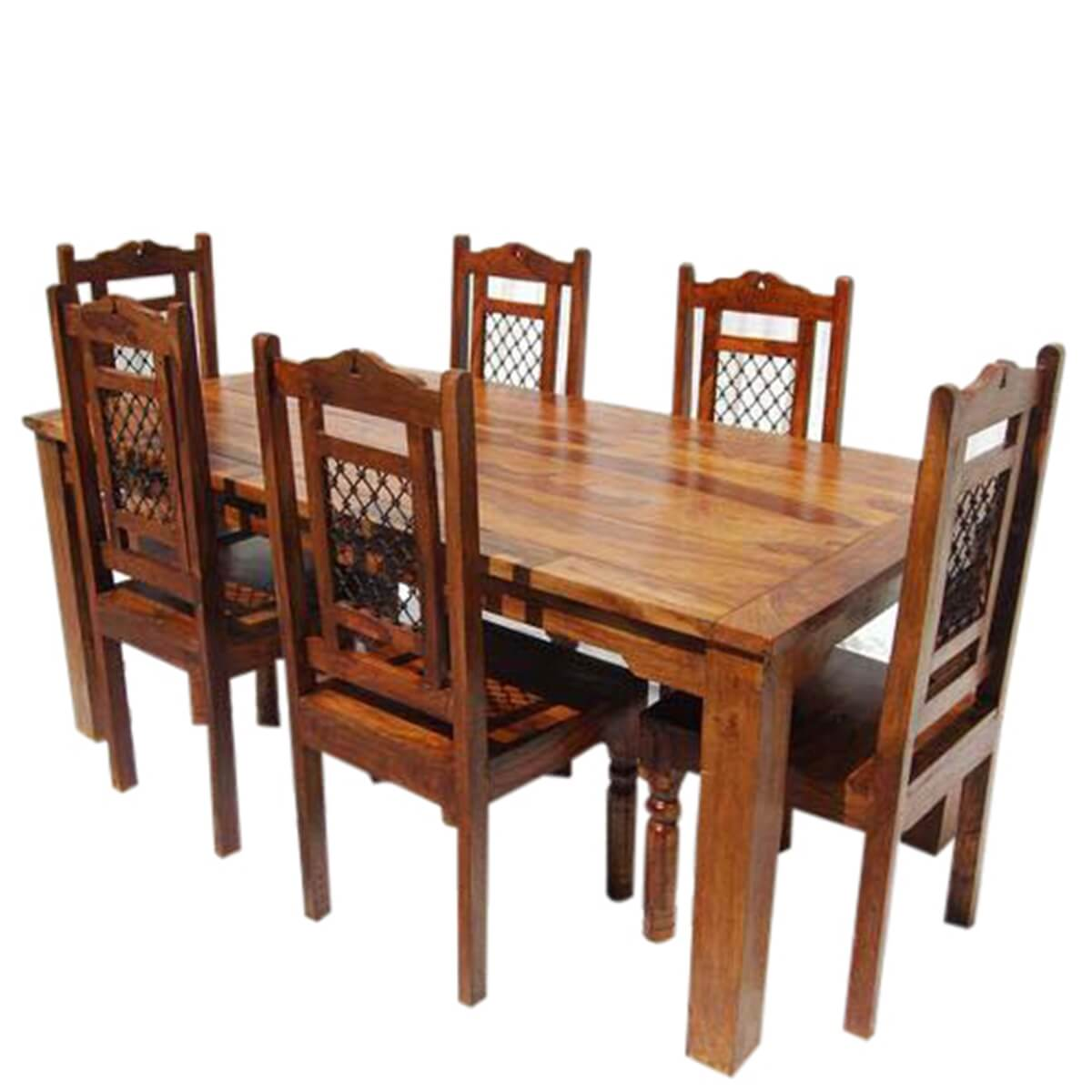 Farmhouse Table And Chairs Set Swiss Alps Solid Wood 7pc Farmhouse Dining Table And Chair Set