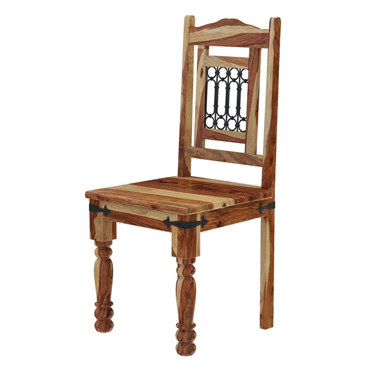 Unfinished Dining Room Chairs Vandana Solid Wood And Wrought Iron Rustic Kitchen Dining Chair