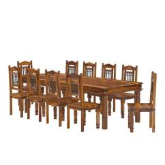 10 Chair Dining Table Set American Doll San Francisco Rustic Furniture Large With