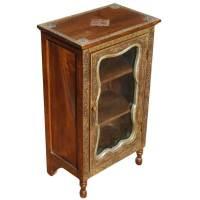 Palace Gates Mango Wood & Brass Mini Curio Cabinet
