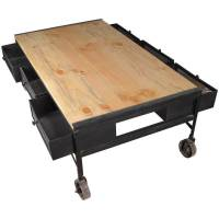Industrial Iron & Tropical Hardwood 6-Drawer Rolling ...