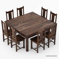 8 Chair Square Dining Table Power With Tracks Richmond Rustic Solid Wood Large Room