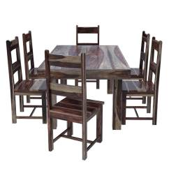 Solid Wood Dining Room Table And Chairs Computer Chair Adjustable Arms Frisco Modern Casual Rustic