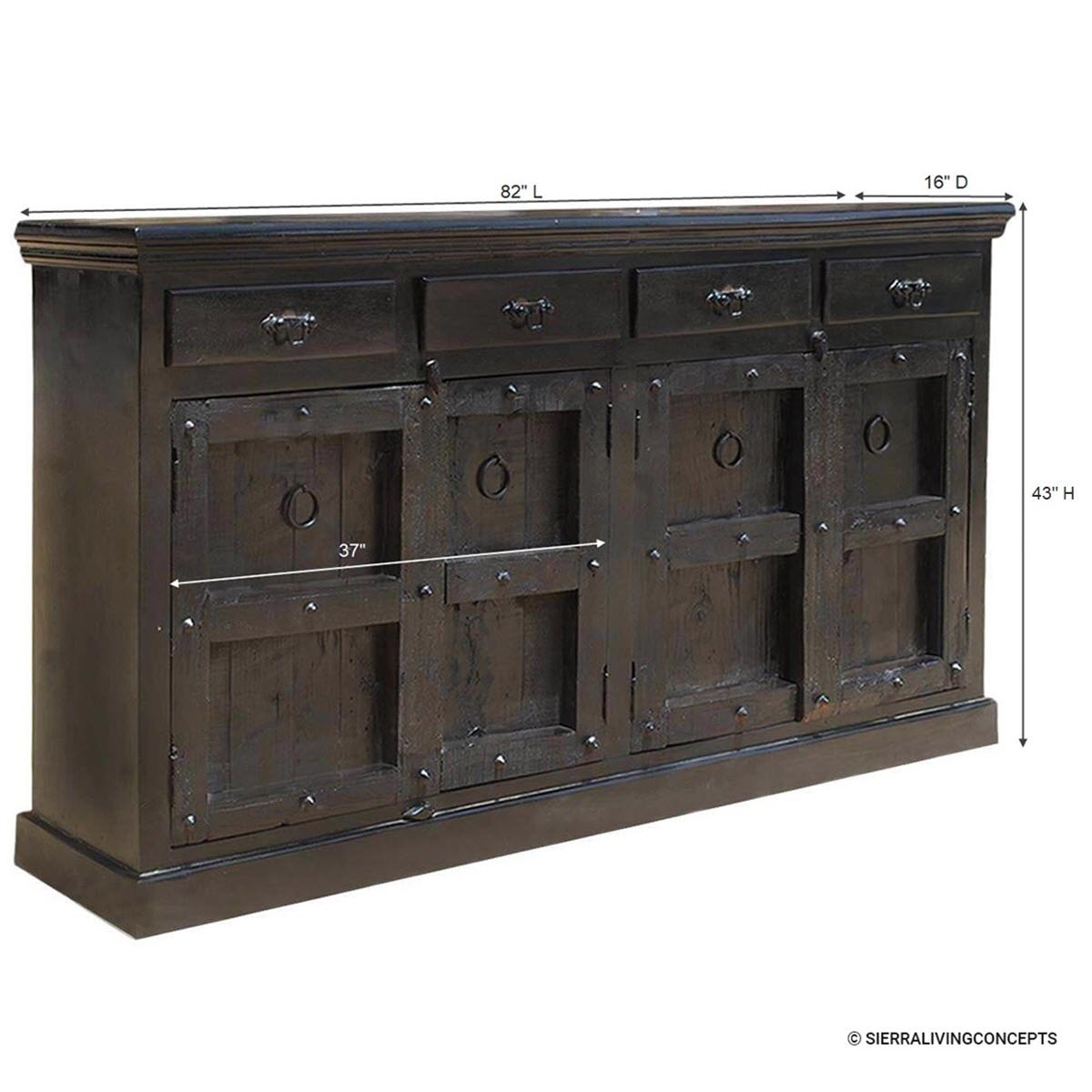 Kansas City Solid Wood 4 Drawer Black Large Sideboard