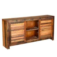 Rustic Reclaimed Wood Distressed Sliding Door Buffet