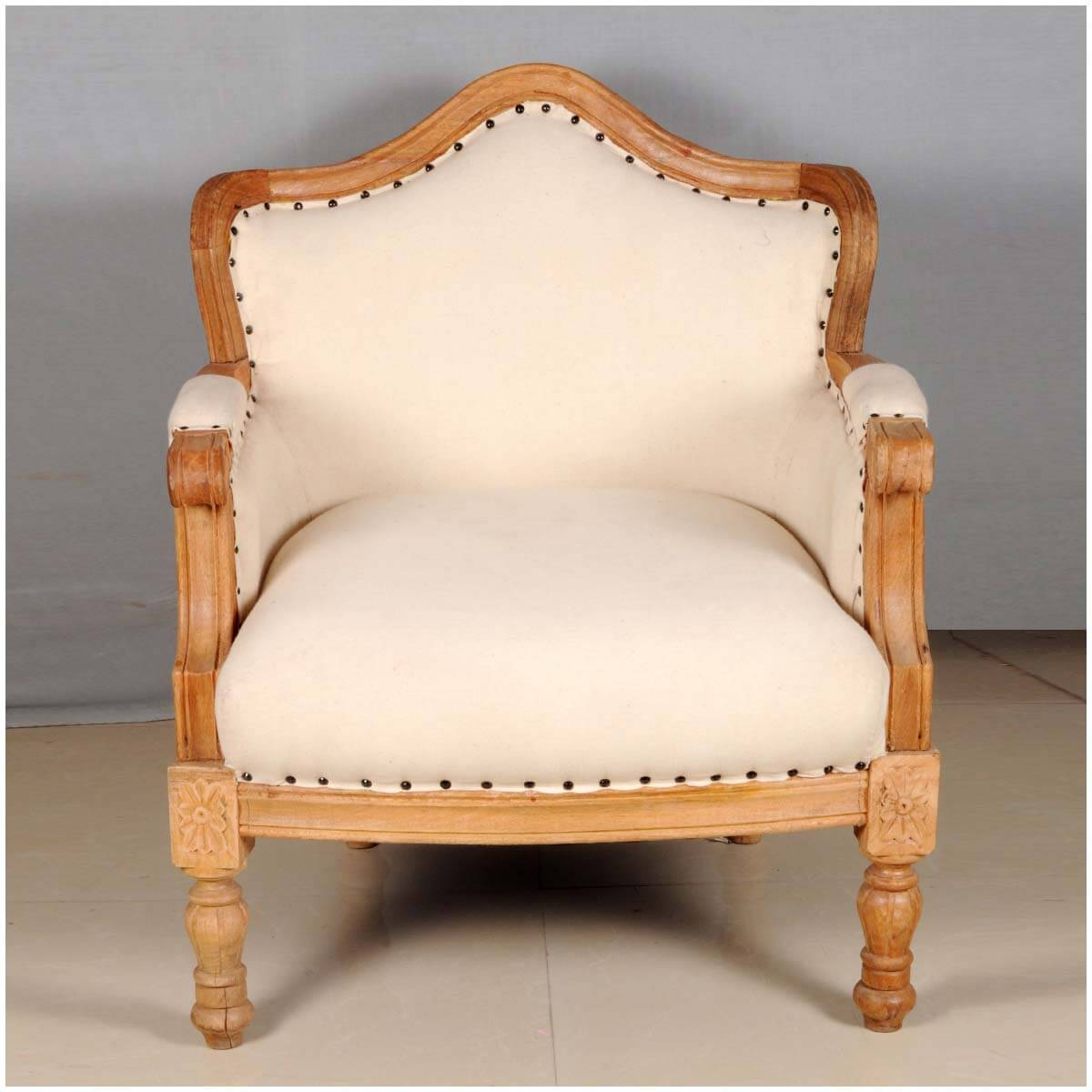 Overstuffed Chair Colonial Federal Mango Wood Upholstered Overstuffed Arm Chair