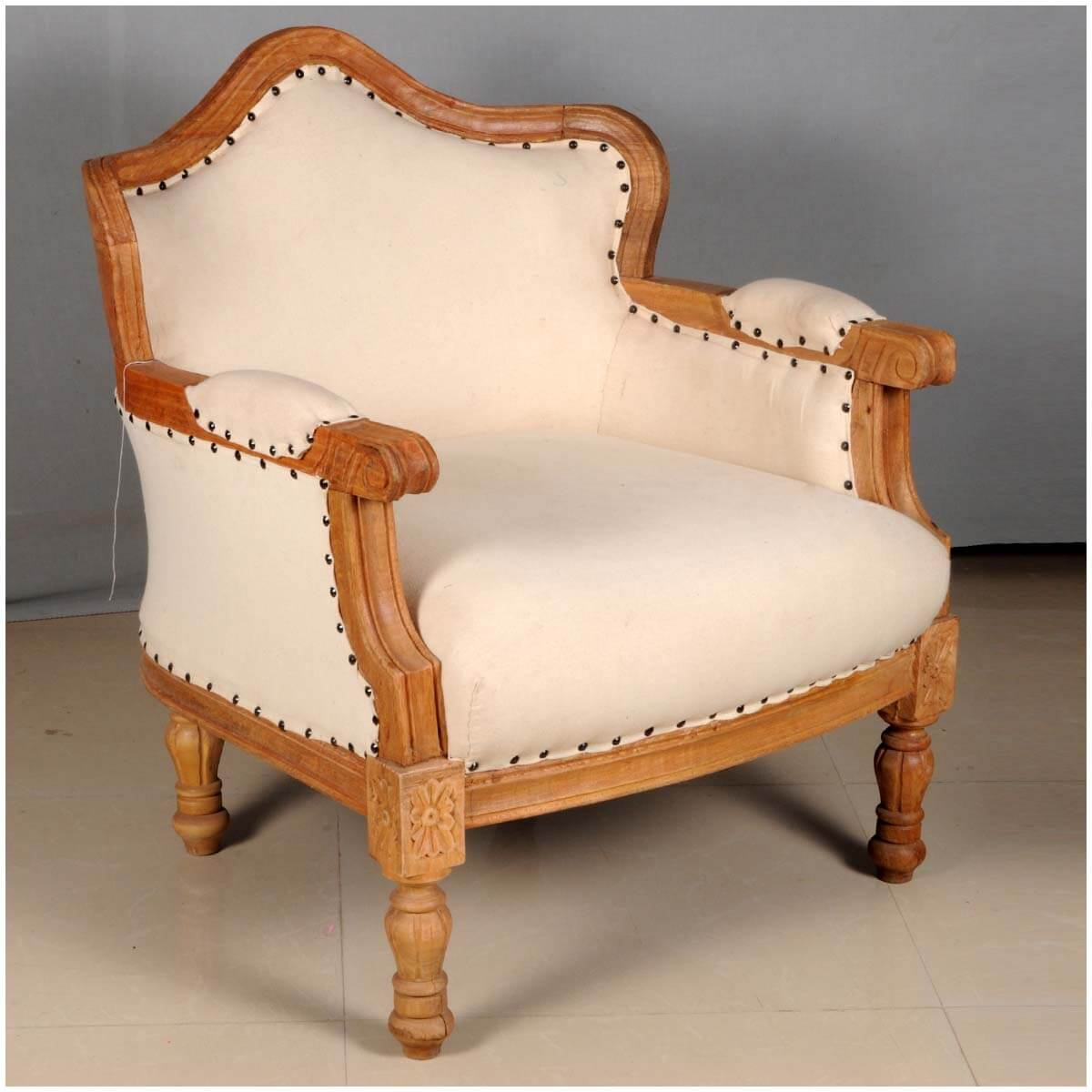 Colonial Chair Colonial Federal Mango Wood Upholstered Overstuffed Arm Chair