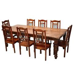 Solid Wood Dining Room Table And Chairs High Back Potenza Chair Rustic Furniture Large 8 Set