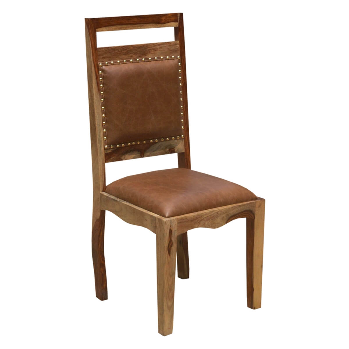 Rustic Dining Chairs Transitional Rustic Solid Wood And Leather Dining Chair