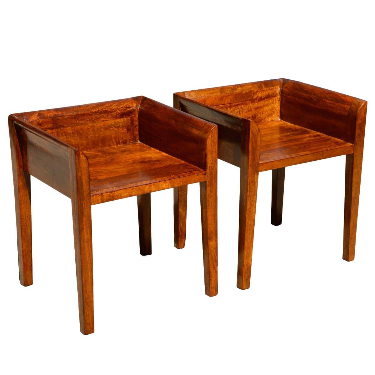 Low Back Chairs Set Of 2 Contemporary Solid Mango Wood Low Back Chairs