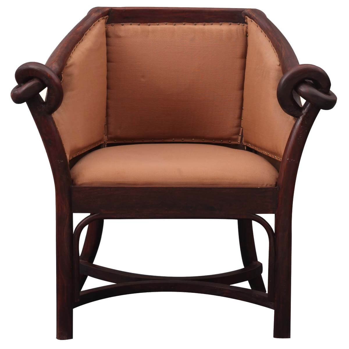 Modern Barrel Chair Contemporary Upholstered Indian Rosewood Barrel Chair