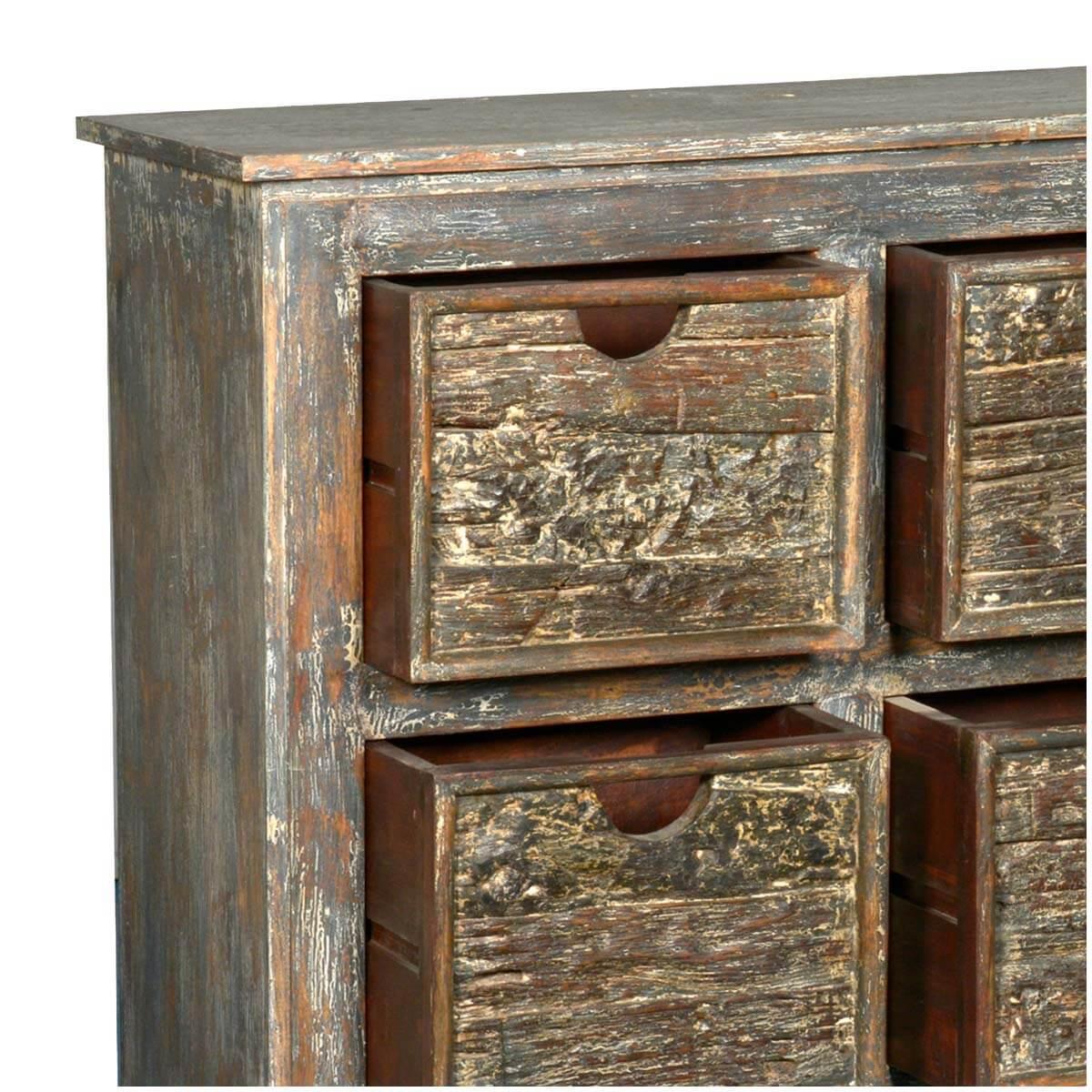 Rustic Reclaimed Wood 6 Bin Storage Drawer Cubby Cabinet