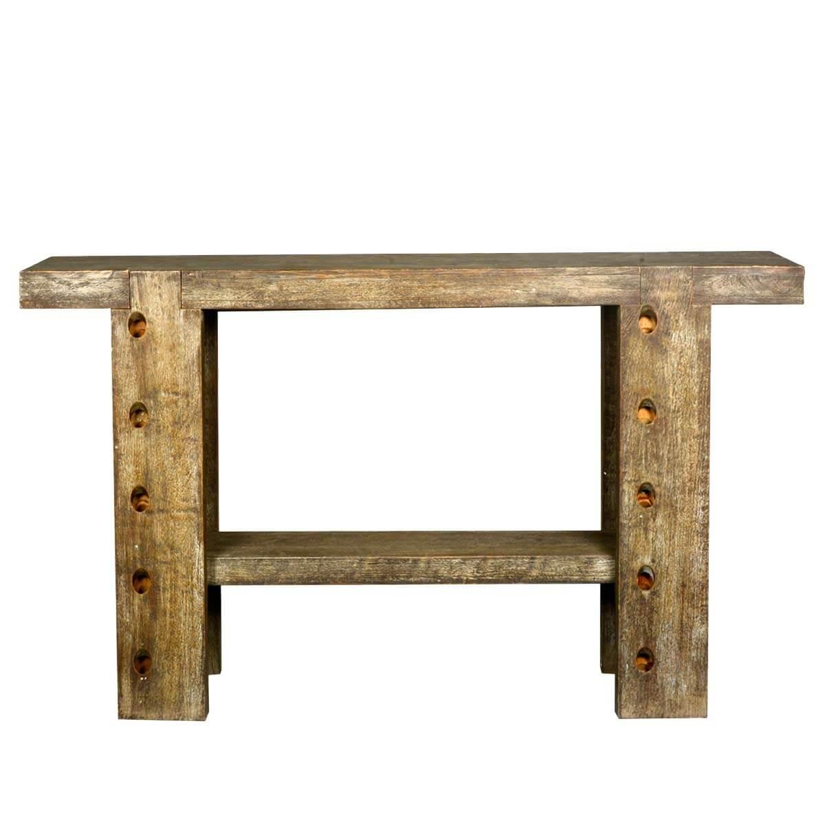 sofa console tables wood diplomat sleeper rustic 10 holes reclaimed table hall