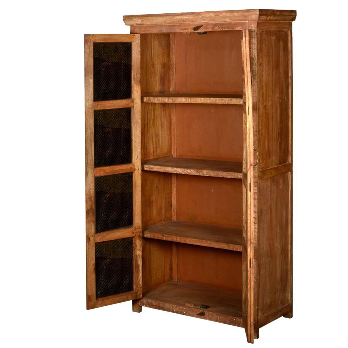 Metal Mesh Window Doors Reclaimed Wood Storage Cabinet Armoire