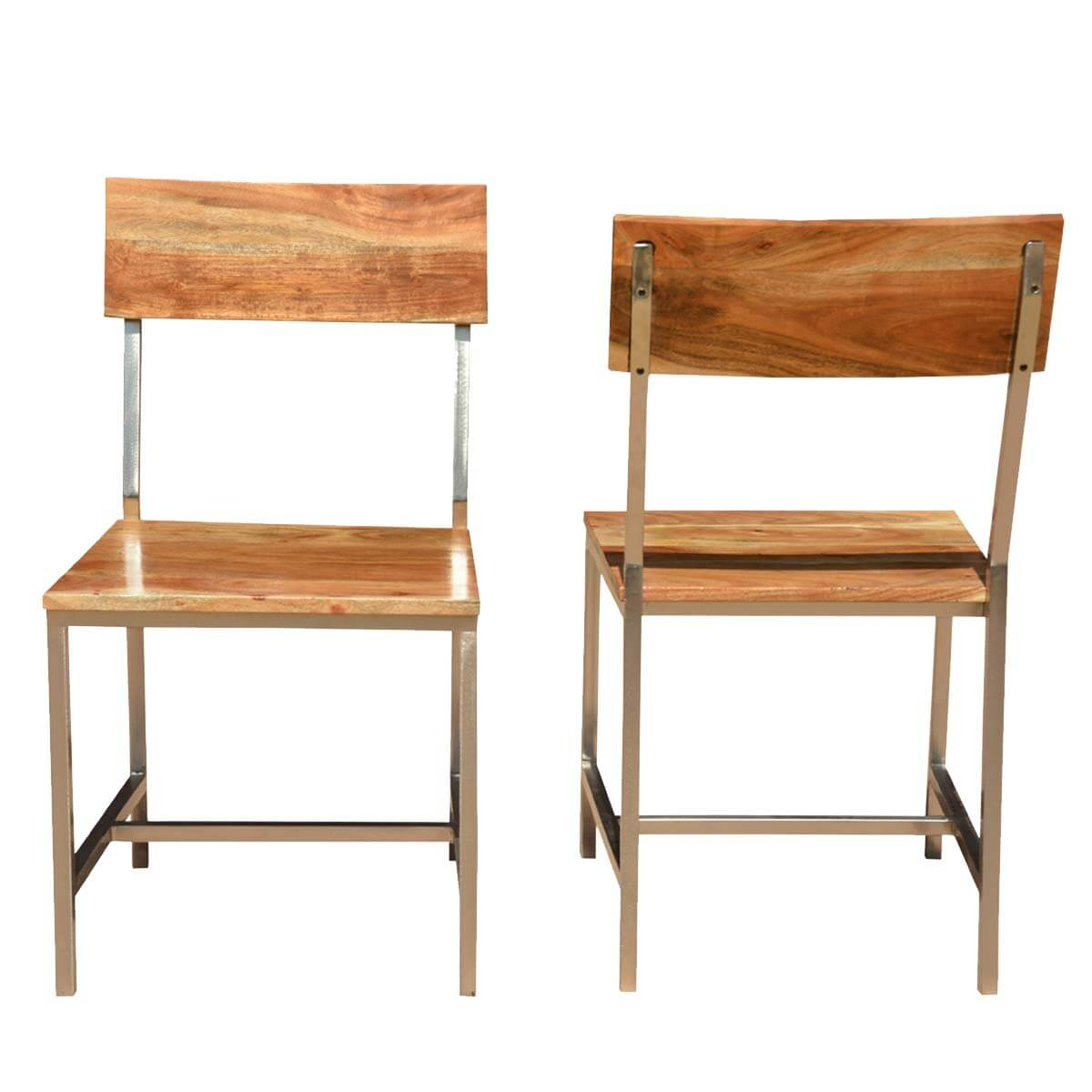 Rustic Dining Chairs Solid Wood And Iron Rustic Dining Chair Set Of 2