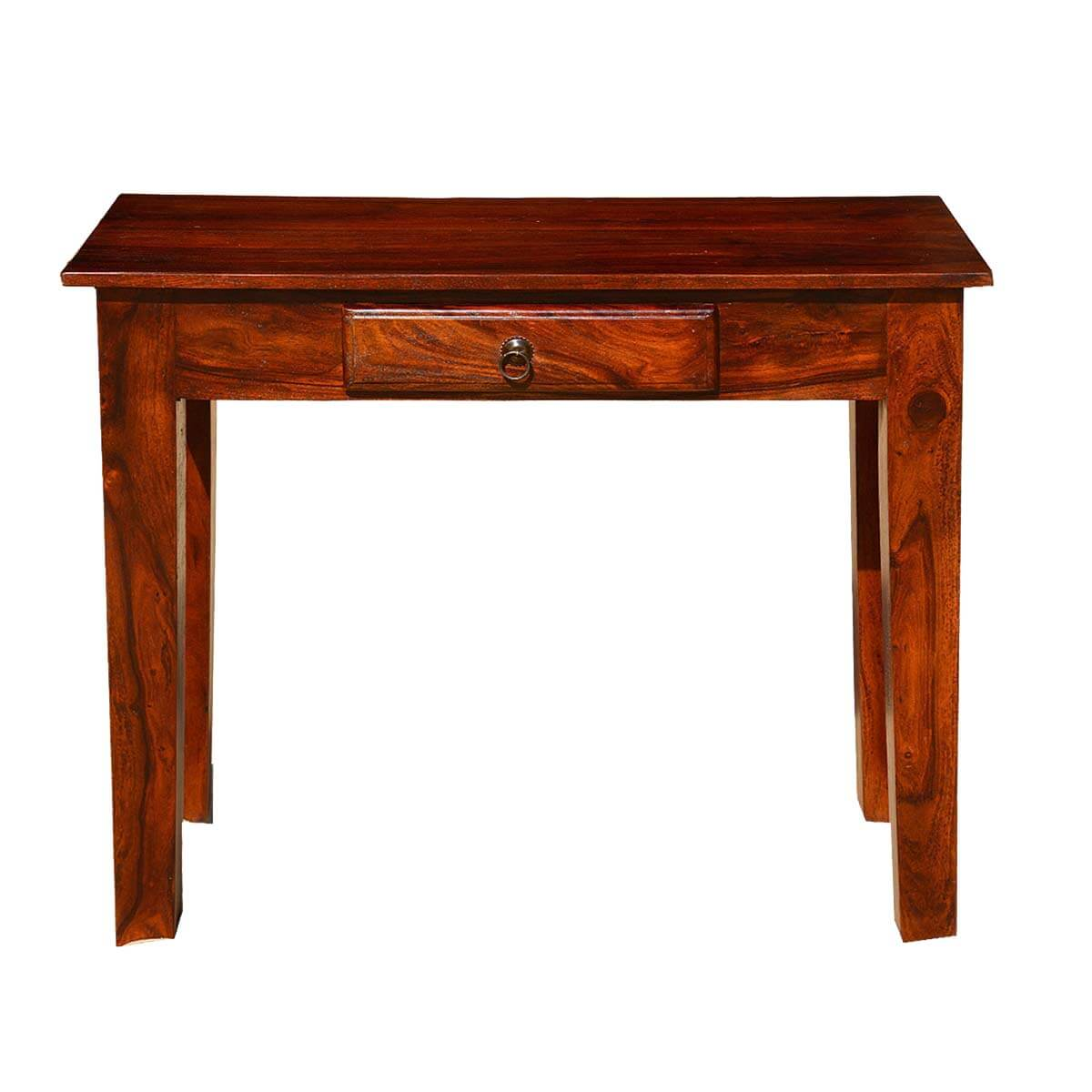 sofa console tables wood automatic recliner rustic solid entry hall table with drawer