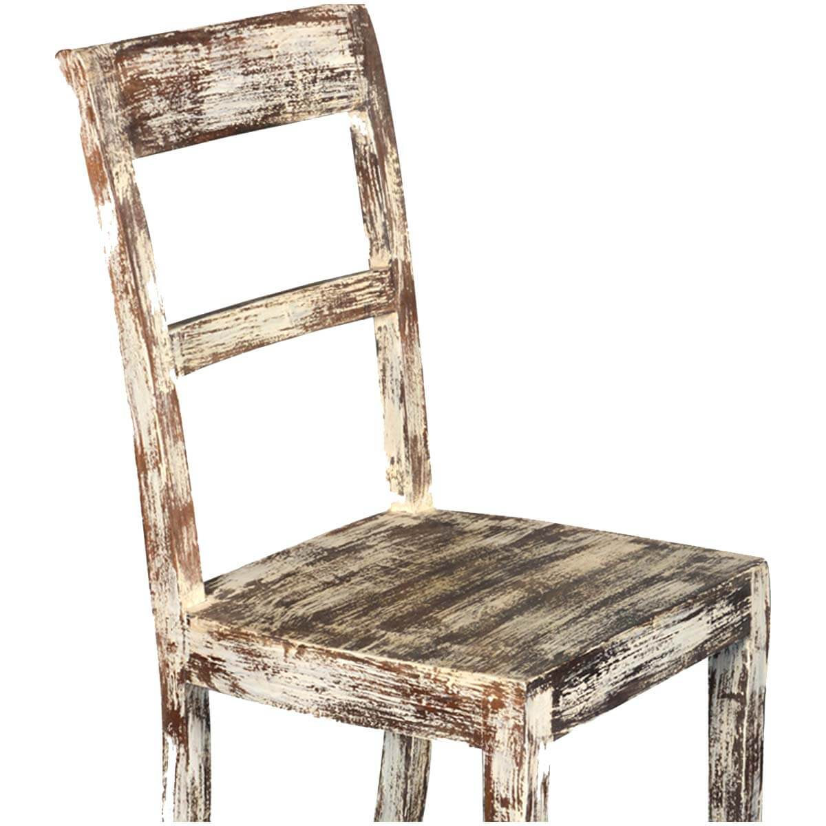 White Wood Chair White Distressed Mango Wood Rustic School Back Side Dining
