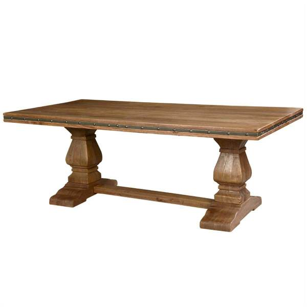 Rustic Solid Wood Trestle Pedestal Base Harvest Dining Table
