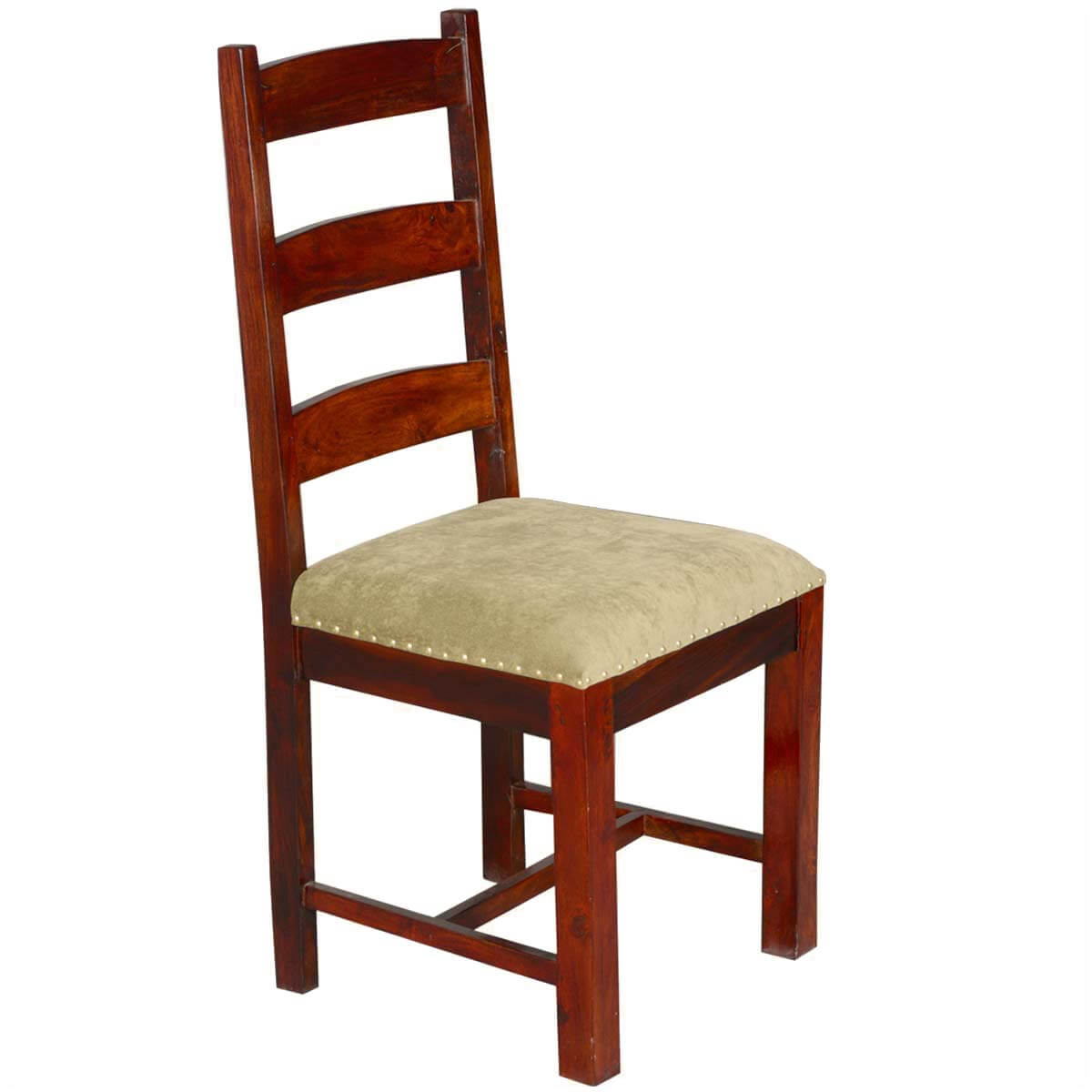 Upholstered Dining Chairs Traditional Solid Rosewood Upholstered Ladder Back Side