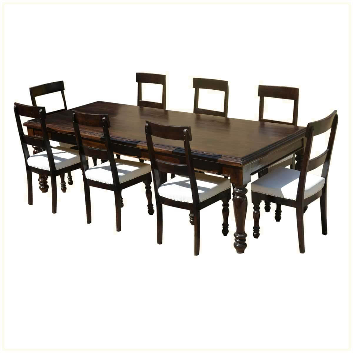 dining table with leather chairs acrylic clear chair american acacia wood and upholstered