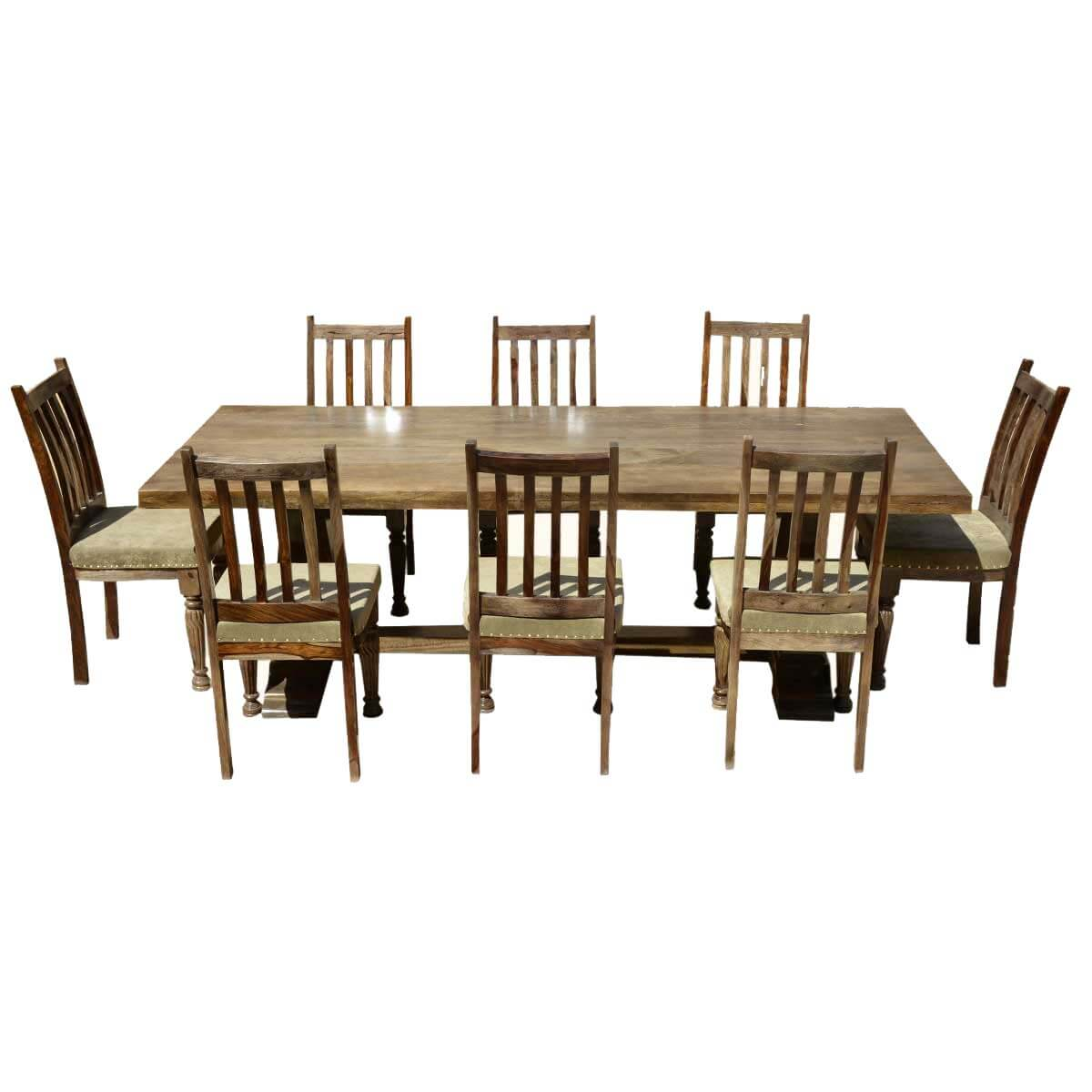 Farmhouse Table And Chairs Set Farmhouse Solid Wood Trestle Rustic Dining Table