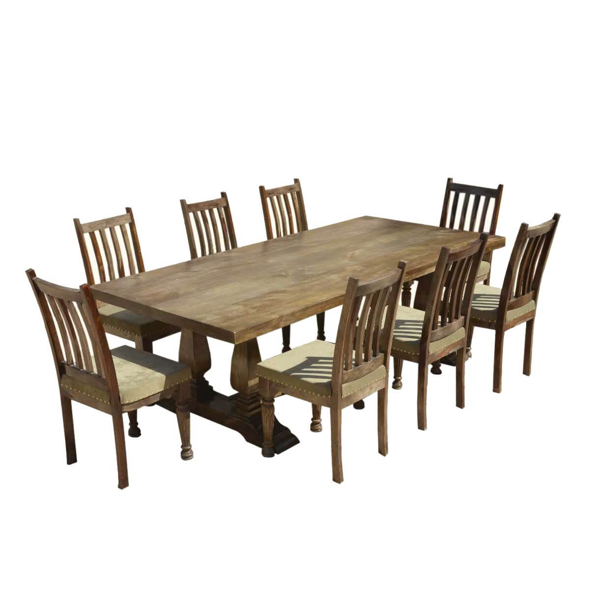 rustic dining table and chairs white rocking chair outdoor farmhouse solid wood trestle