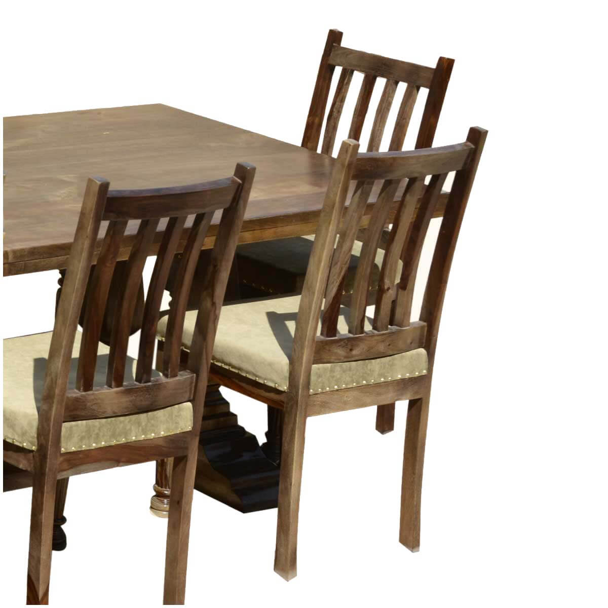 farmhouse dining chairs mobler solid wood trestle rustic table