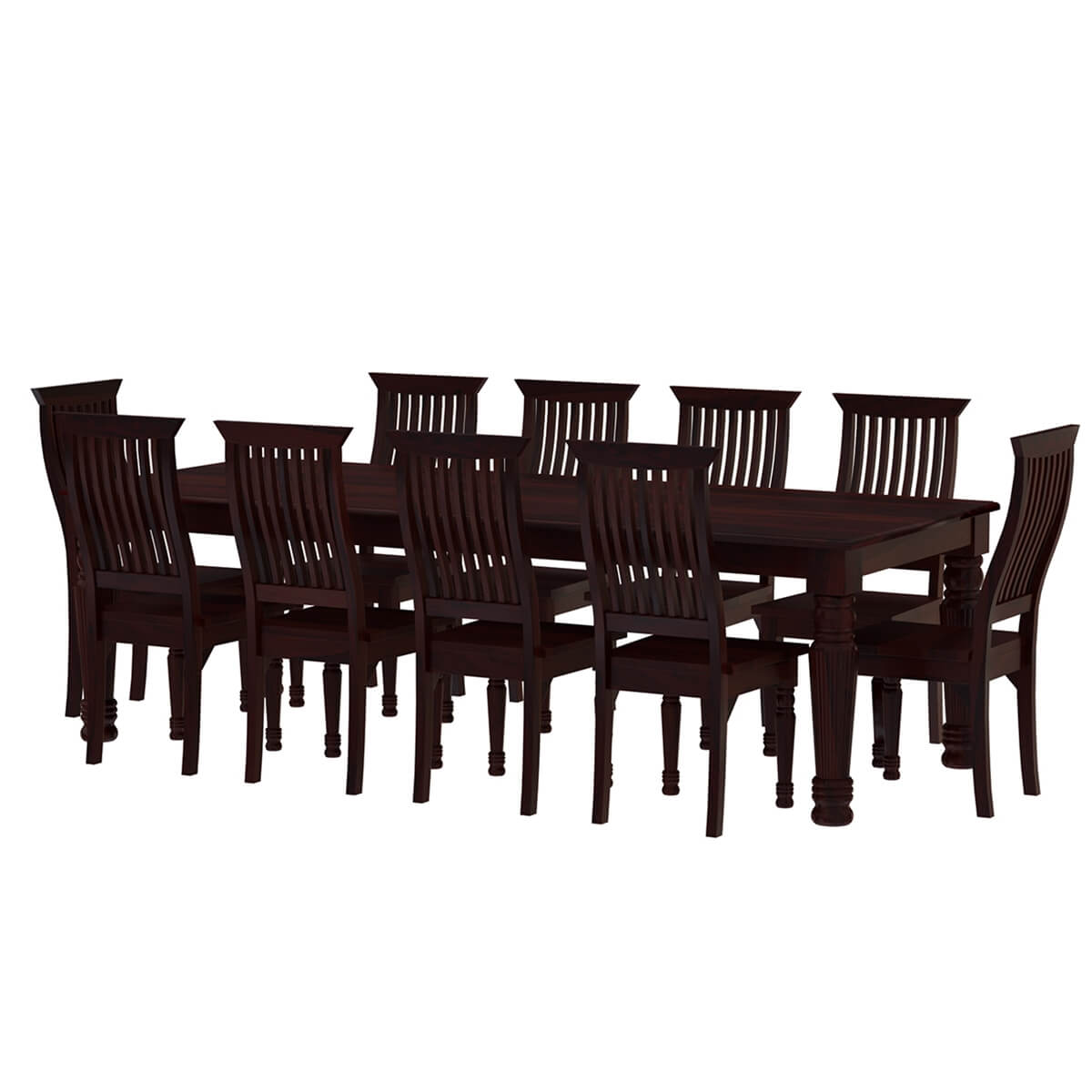 Rustic Wood Chairs Colonial American Large Rustic Wood Dining Table And 10