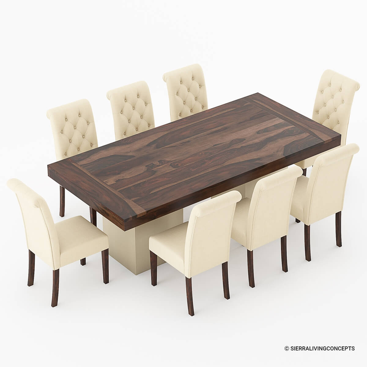 Rustic Wood Chairs Solid Wood Large Rustic Dining Table With Leather Parson