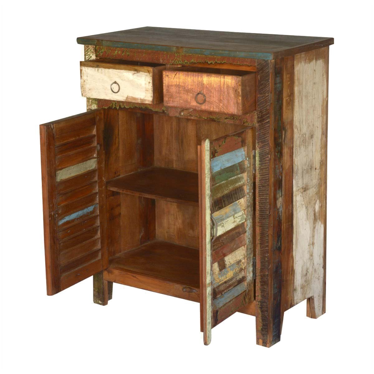 Multicolored Reclaimed Wood Storage Cabinet with 2 Drawers