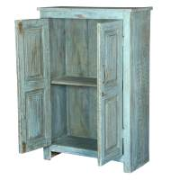 Distressed Blue 2 Door Reclaimed Wood Storage Cabinet