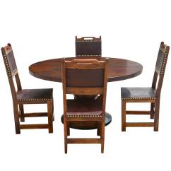 Dining Table With Leather Chairs Office Desk Chair Floor Mats Santa Ana Round Kitchen Set Back